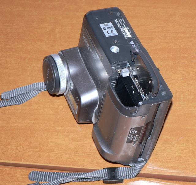 Sony camera with open battery compartment