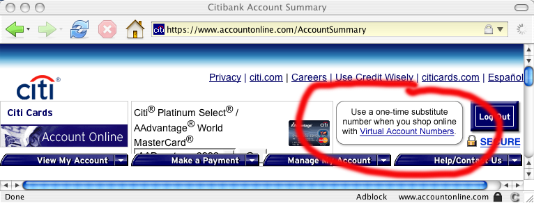 Virtual Account Number on Citibank's web site