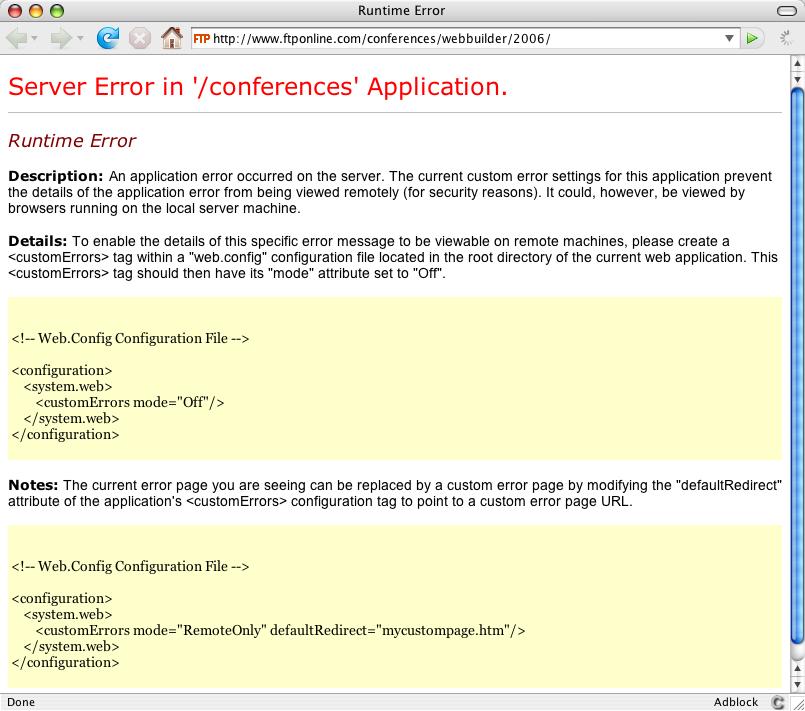 Server Error in '/conferences' Application.