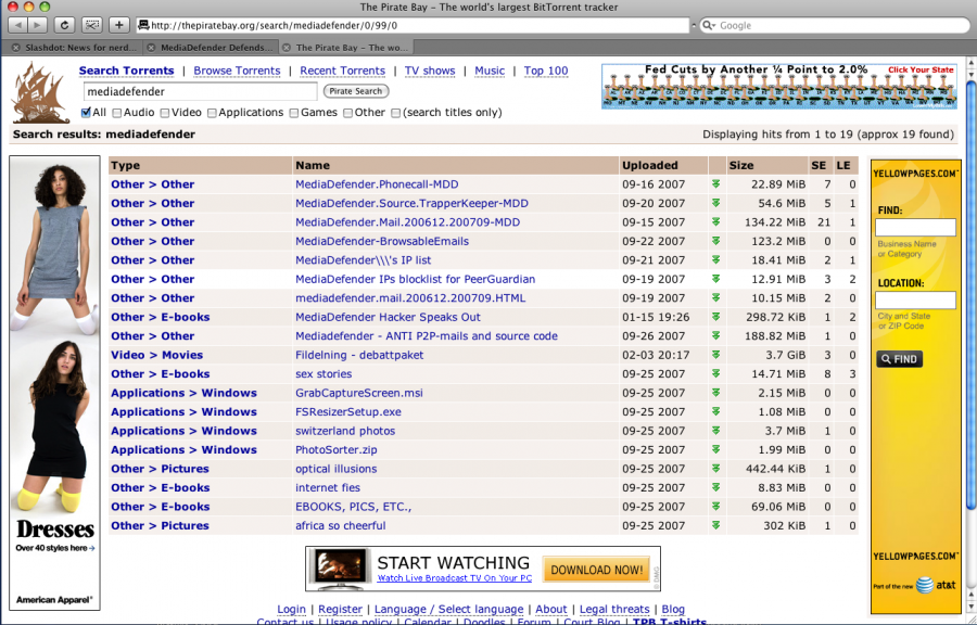Search on MediaDefender at The Pirate Bay; 4 ads from American Apparel. AT&T et al