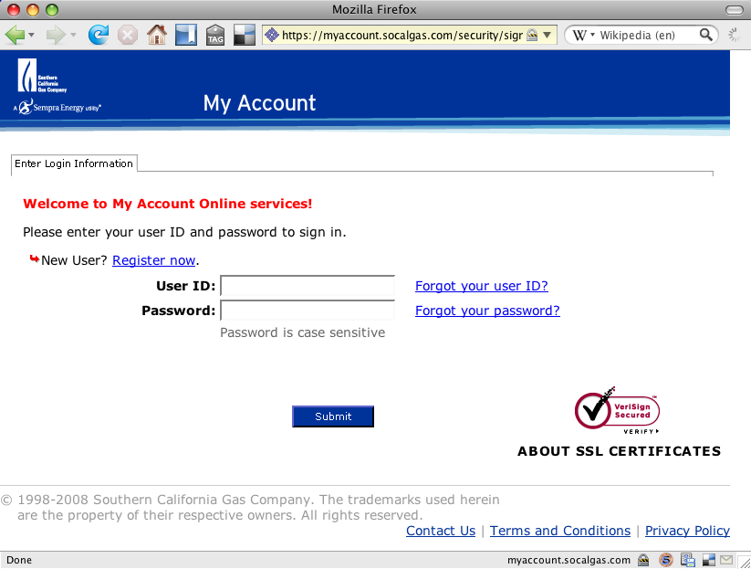 Welcome to My Account Online services! Please enter your user ID and password to sign in. New User? Register now.